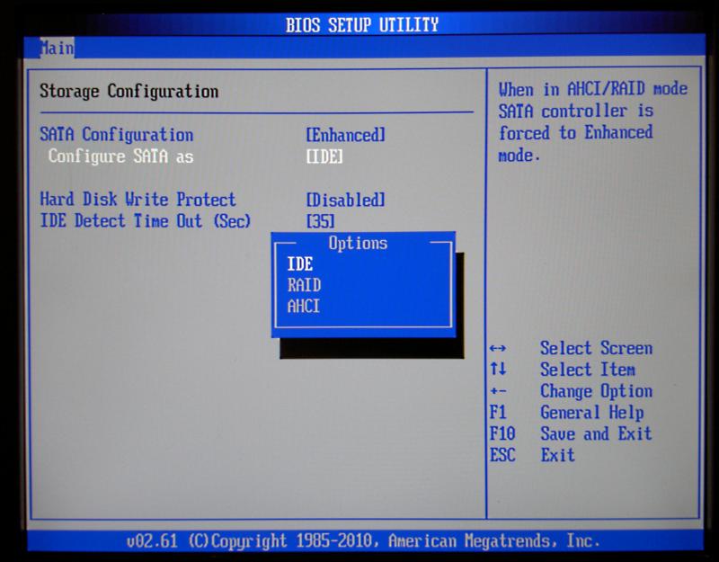 Режимы работы IDE/AHCI контроллера жесткого диска и его влияние на загрузку