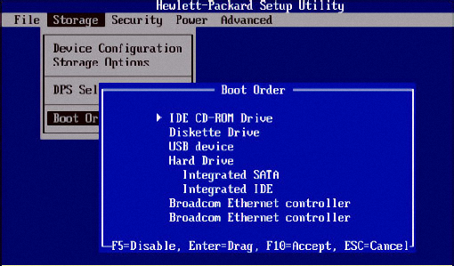 Getting Started with Emergency Boot Kit - Setting up Hewlett Packard BIOS