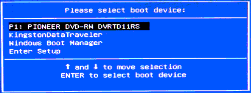 Getting Started with Emergency Boot Kit - Boot menu on AMI BIOS
