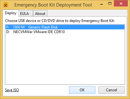 Getting Started with Emergency Boot Kit - Choose Target USB Thumbdrive