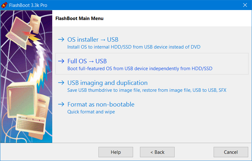 FlashBoot: Create bootable clone of Windows 10 or Windows